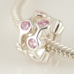 Charm 925 - CZ Stone - Staggared Pods - Pink