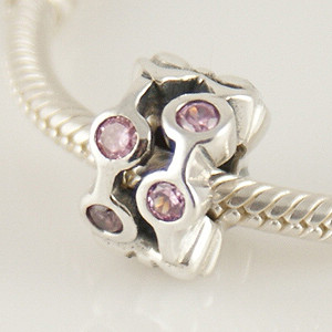 Charm 925 - CZ Stone - Staggared Pods - Med Pink