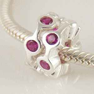 Charm 925 - CZ Stone - Staggared Pods - Hot Pink