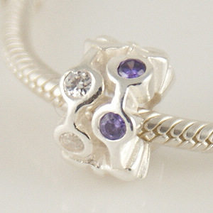 Charm 925 - CZ Stone - Staggard Pods - Purple & Clear