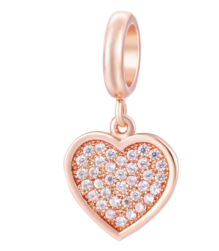 EndLess Charm Drop - CZ Heart Rose Gold