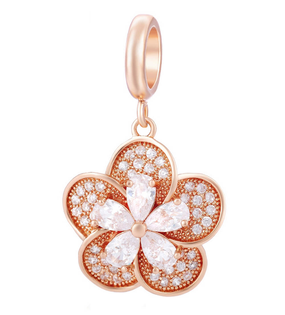 EndLess Charm Drop - CZ Flower Rose Gold