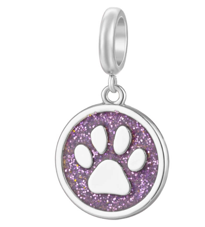 EndLess Charm Drop - Enamel Glistening Paw Print Purple