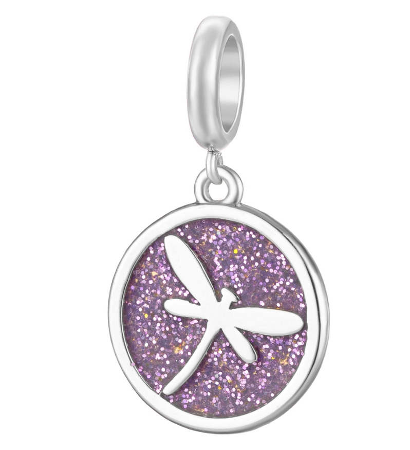 EndLess Charm Drop - Enamel Glistening Dragonfly Purple