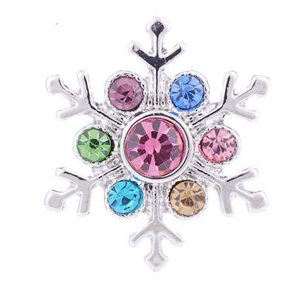 Snap Jewelry Rhinestone Christmas Snowflake Multicolor