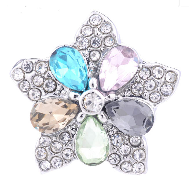 Snap Jewelry Large CZ - Five Pointed Star Mulitcolor