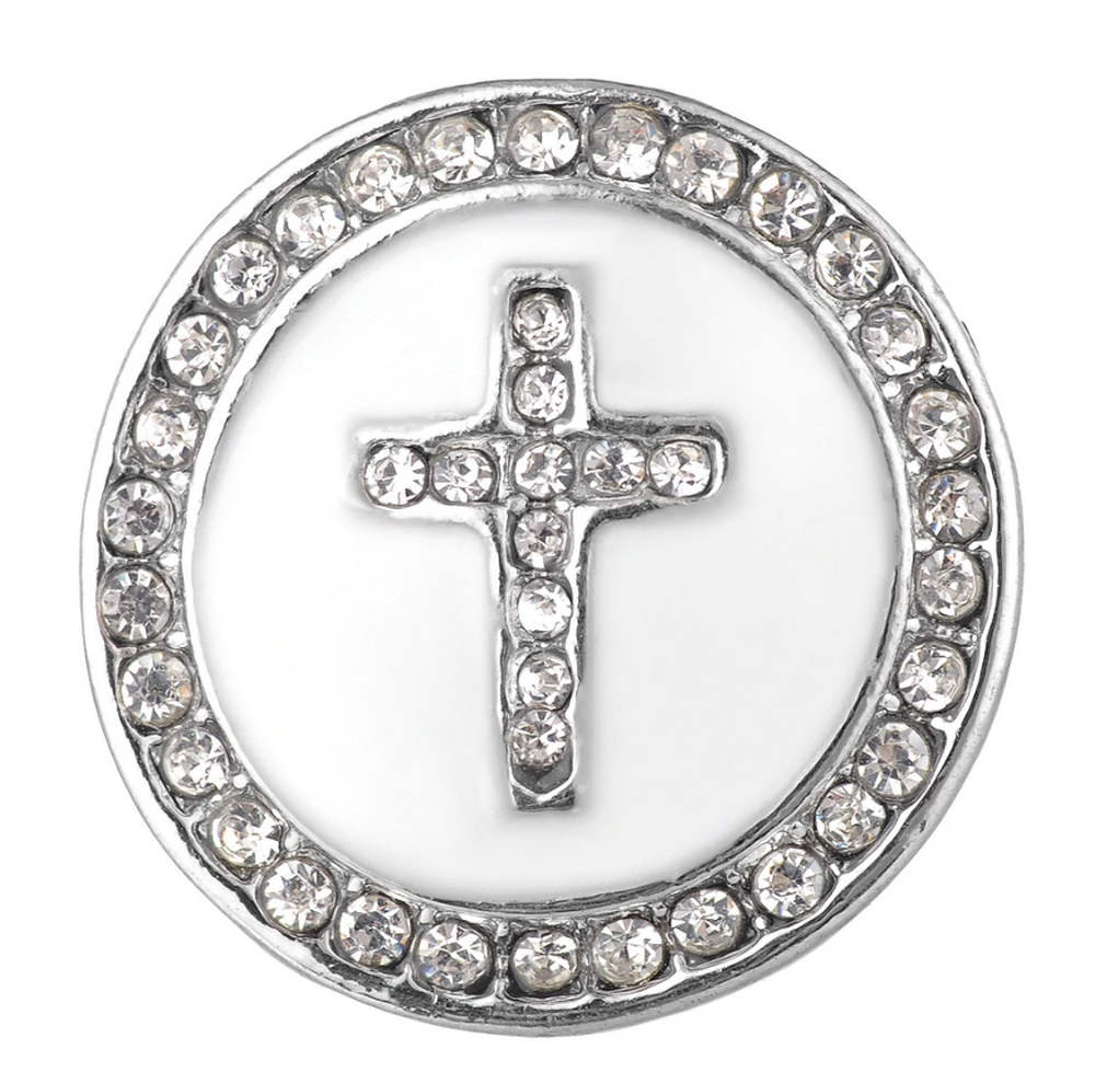 Snap Jewelry 18-20mm Enamel Cross White & Clear Halo