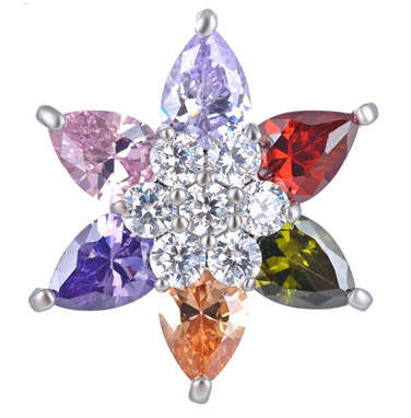 Snap Jewelry Large CZ - 3D Flower Multicolor & Clear