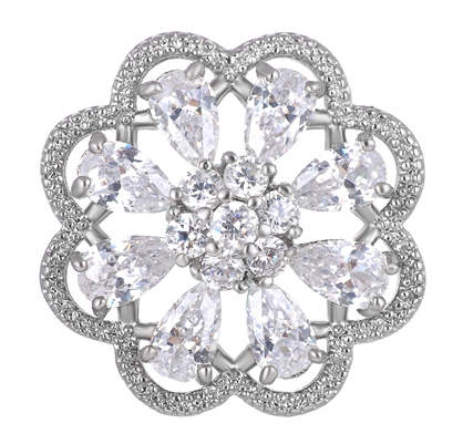 Snap Jewelry Large CZ - Pave 3D Flower Clear