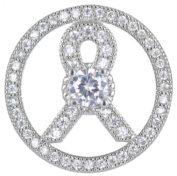 Snap Jewelry Large CZ - Pave & Large CZ Ribbon Awareness
