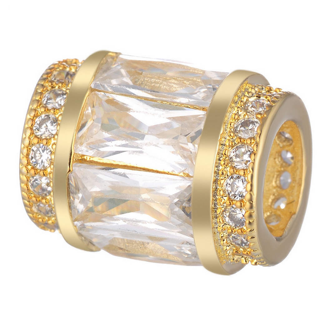 EndLess Charm CZ Barrel - Baguette Gold & Clear