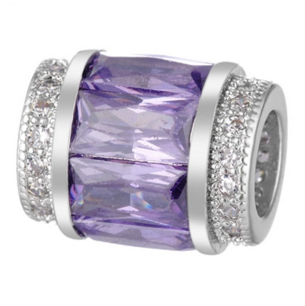 EndLess Charm CZ Barrel - Baguette Purple & Clear