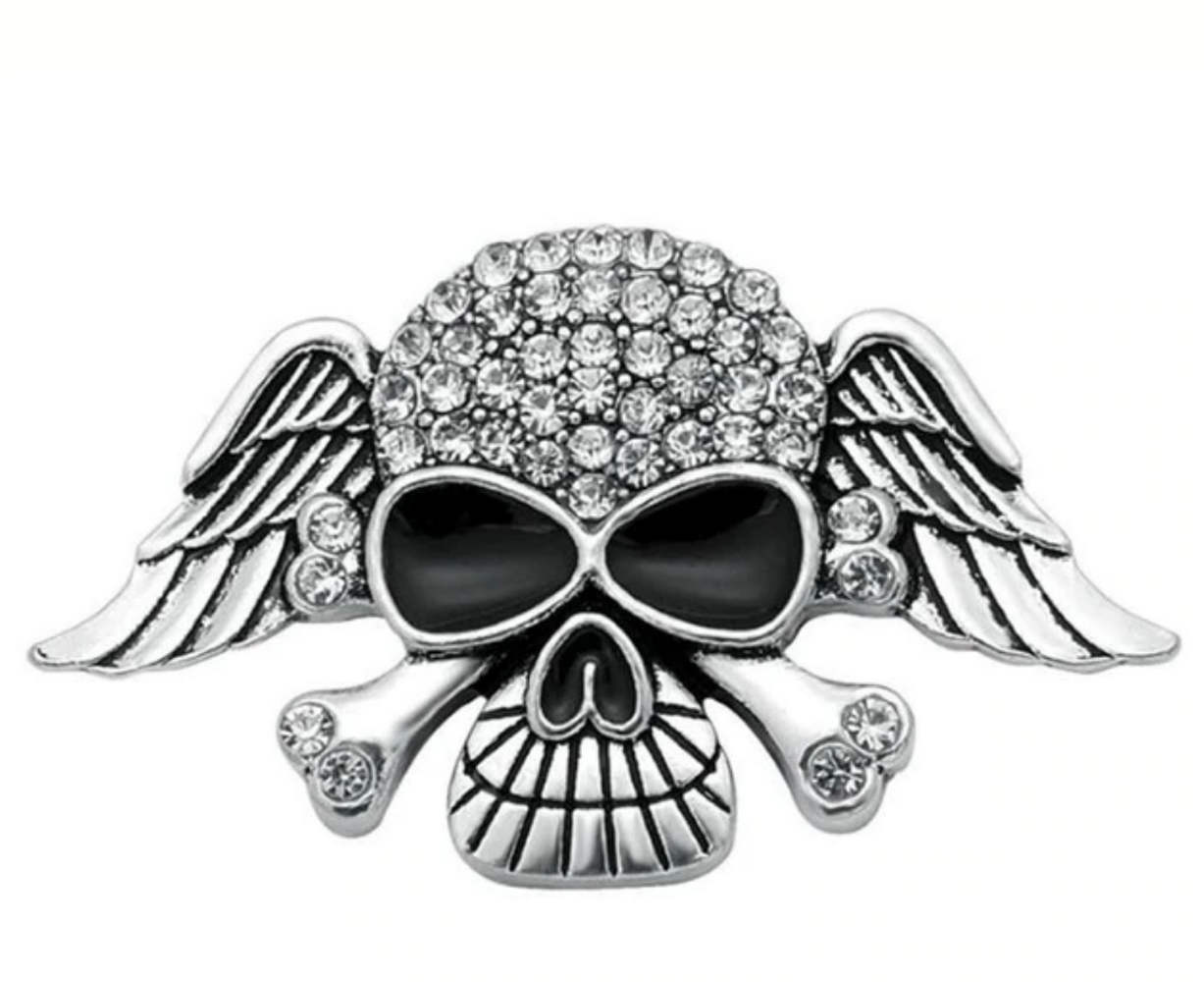 Snap Jewelry Rhinestone - Wings, Skull & Bones Clear Stones