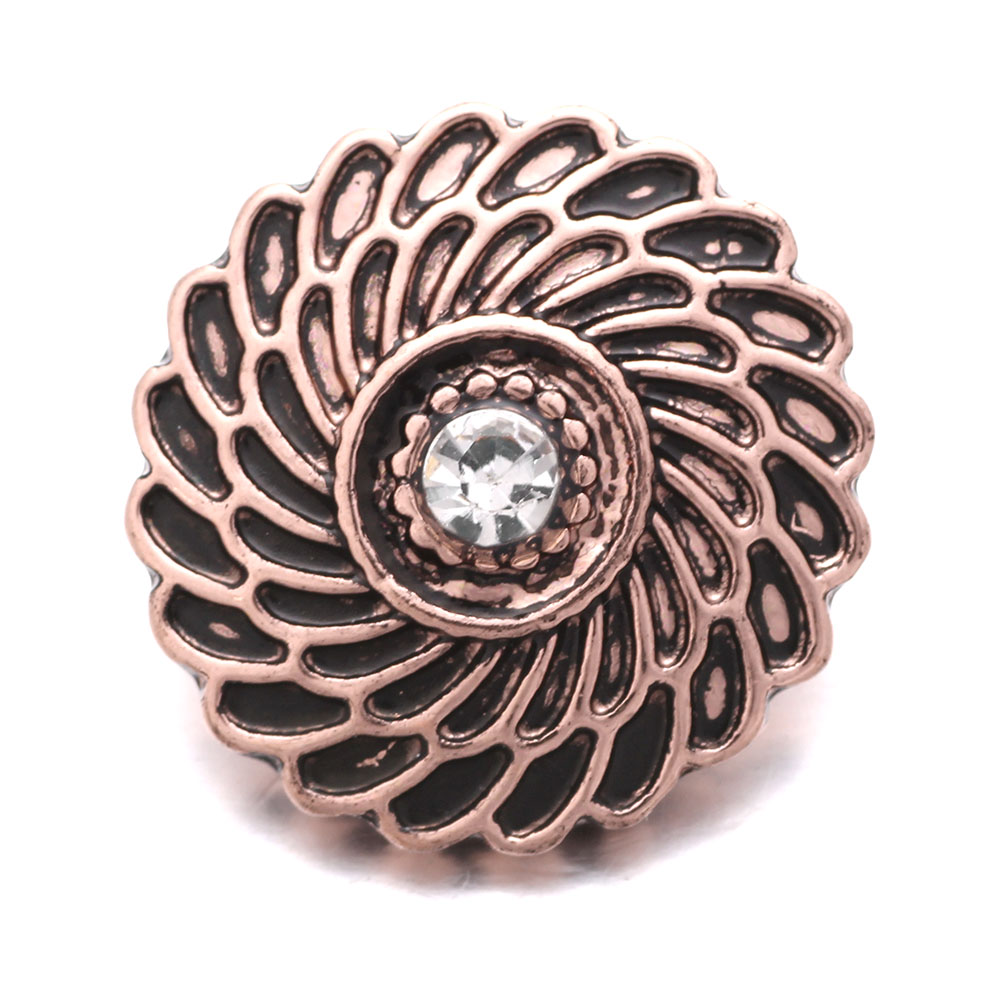 Snap Jewelry Rhinestone Rose Gold Spiral Pattern