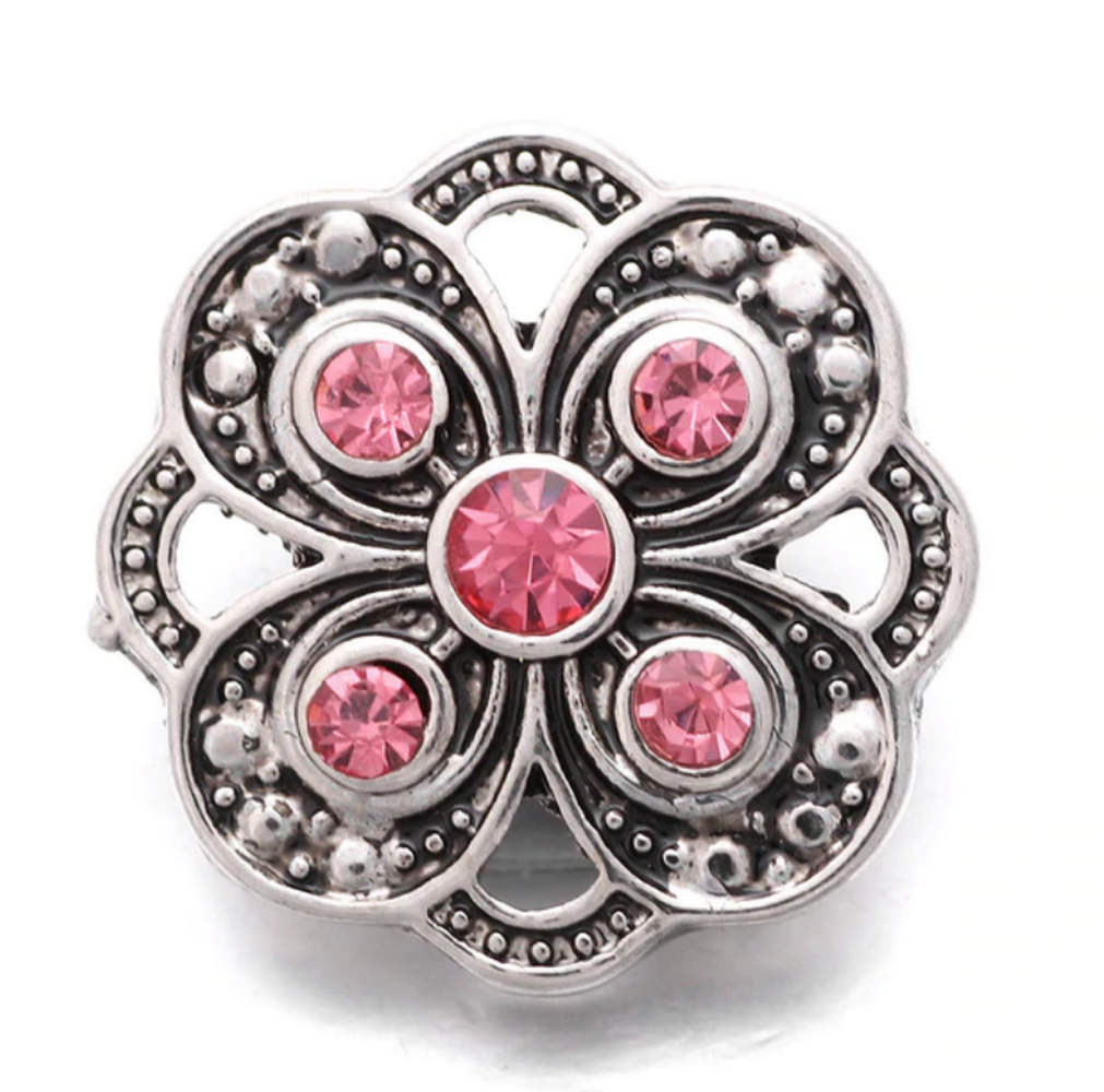 Snap Jewelry Rhinestone Designer Flower Pink & Clear
