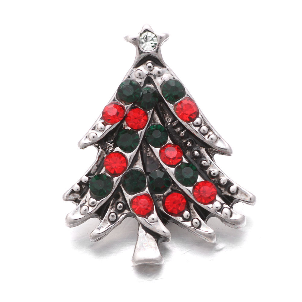 Snap Jewelry Rhinestone Christmas Tree Red & Green