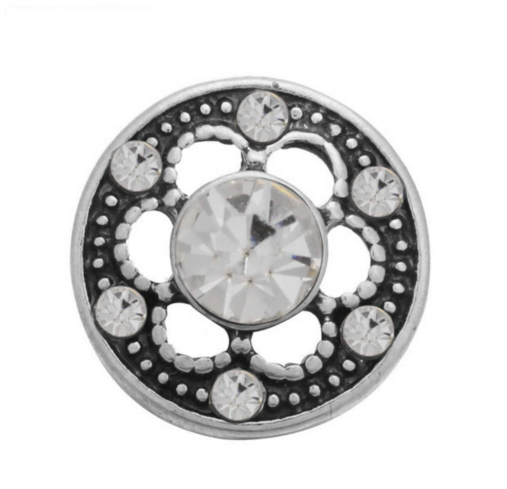 Mini Snap 12mm - Rhinestone Designer Flower Clear