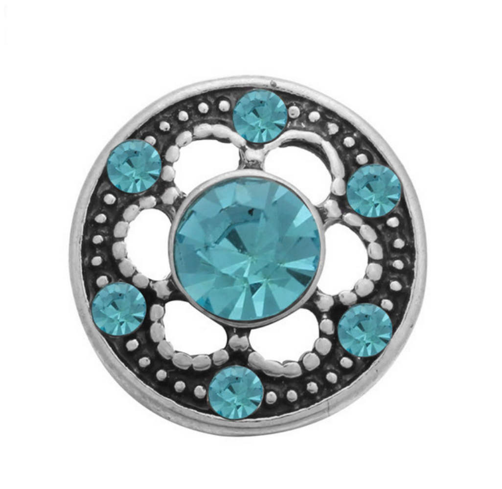 Mini Snap 12mm - Rhinestone Designer Flower Light Blue