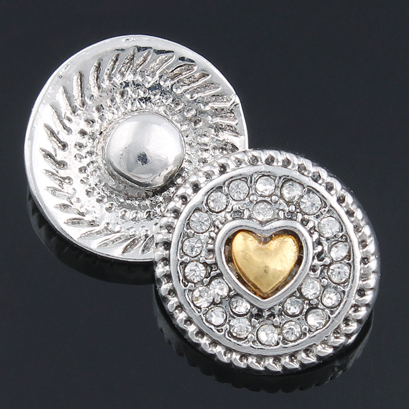 Mini 12mm Snap Jewelry Rhinestone Heart Silver & Gold