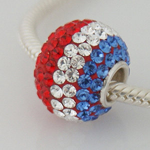 Charm 925 - 7 Row - Giant Crystals - Red, White & Blue