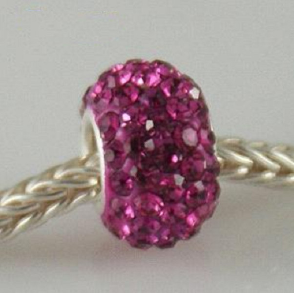 Silver Plated Core Crystal Charm Fuchsia