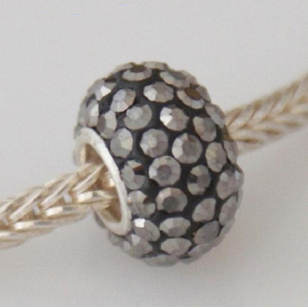 Silver Plated Core Crystal Charm Gray AB