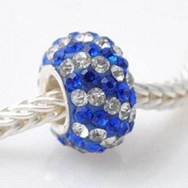 Silver Plated Core Crystal Charm Clear & Blue Lines
